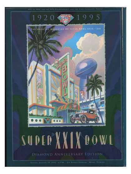 1995 Super Bowl XXIX Program, 49ers VS Chargers by Brigandi Coins and Collectibles at Gilt