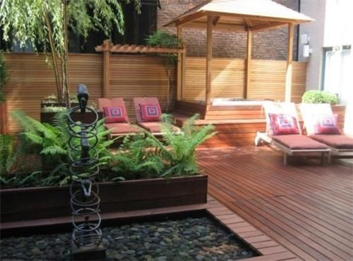 """This urban garden terrace utilizes both a water feature and a spa, which requires significant structural analysis and possible reinforcement to bear the combined loads."" -Maureen Gilmer. Learn more about balcony and terrace design here: http://www.landscapingnetwork.com/landscaping-ideas/rooftop-garden-tips.html Landscape design by Just Terraces in NY."