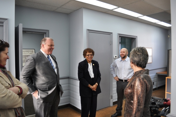 From left to right, Ewing Councilwoman Jennifer Keyes-Maloney, Senate President Steve Sweeney, D-Gloucester, Cumberland and Salem, and Senator Shirley K. Turner, D-Mercer and Hunterdon, talk to Christopher Weber and Denise Hoffman, the owners of the Pierce-Roberts Rubber Company, a Ewing business that was established in 1911, and produces rubber parts for electronics, fire protection, food processing, hydraulics, the medical field, and military equipment.