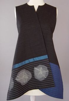 Wrapped Shoulder Vest in Black, White, Blue and Mustard