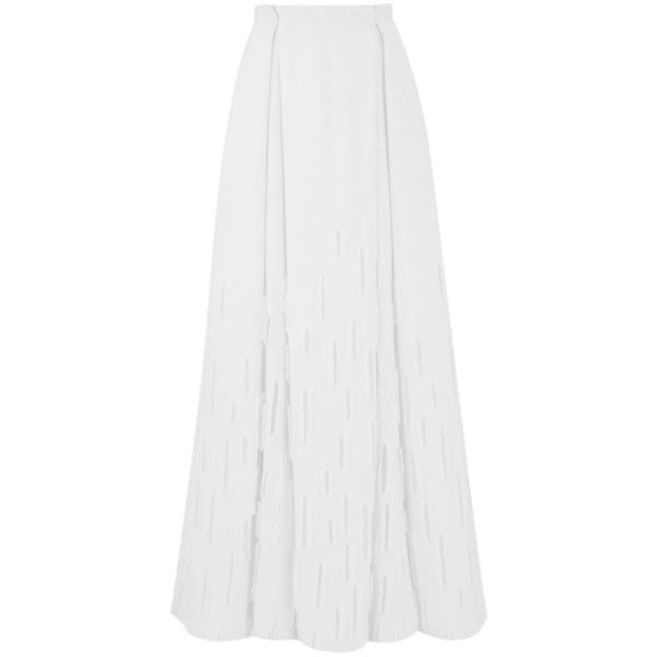 Amanda Wakeley Dial White Flared Skirt ($405) ❤ liked on Polyvore featuring skirts, maxi, white, maxi circle skirt, fitted maxi skirt, lined maxi skirt, white skater skirt and knee length maxi skirt