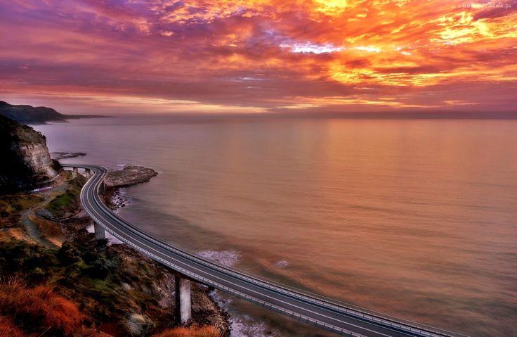 Morze, Zachód, Słońca, Droga, Brzeg