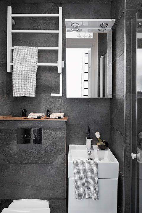 Small bathroom | dark grey tiles