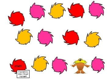 Hello Everyone--Here is a generic game board featuring the Lorax.  There is a regular version and a printer friendly (green background free) ve...
