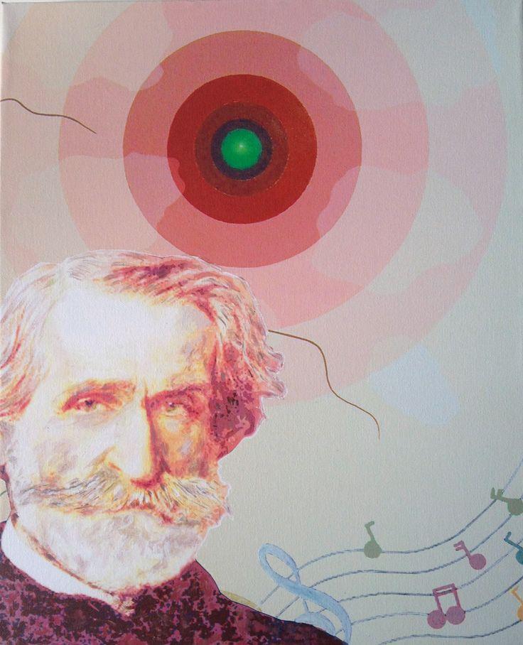 """Concentrico x G.Verdi"" tecnica mista,  cm 50x40, 2013"