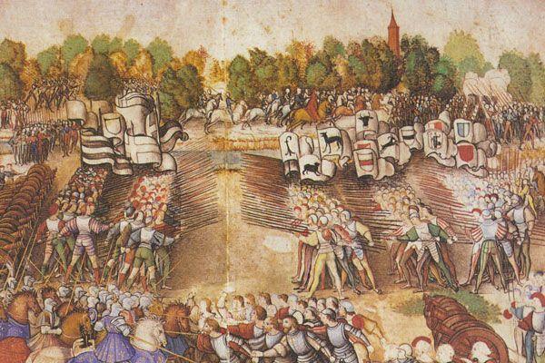 La bataille de Marignan, détail (miniature attribuée au maître de la Ratière, vers 1515, musée Condé, Chantilly)