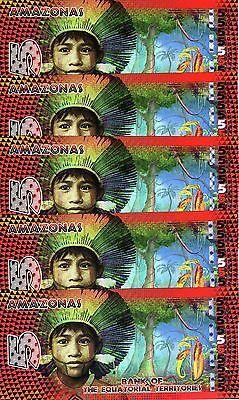 POLYMER Brazil UNC Amazonas 2014 20 x 5 Francs LOT Equatorial Territories