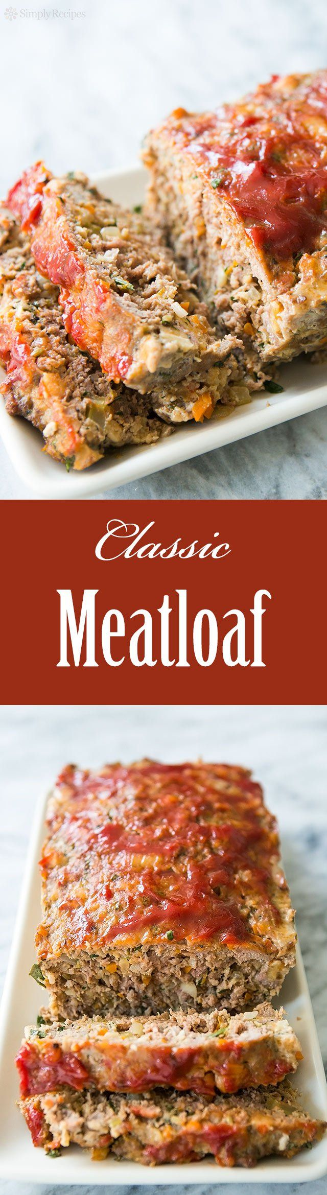 Classic Meatloaf ~ Traditional meatloaf recipe with the delicious twist of using Italian pork sausage in addition to ground beef.  Also includes onion, celery, garlic, egg, parsley, and bread crumbs. ~ SimplyRecipes.com