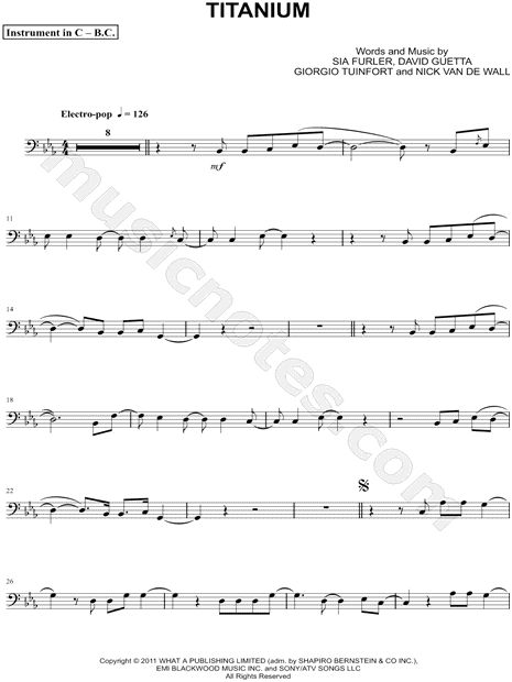 "David Guetta ""Titanium - Bass Clef Instrument"" Sheet Music (Cello, Trombone, Bassoon, Baritone Horn or Double Bass) - Download & Print"