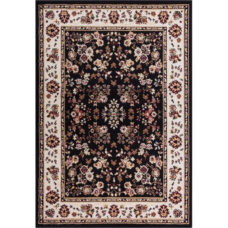Miami Bijar Classic Black 8 ft. 2 in. x 9 ft. 10 in. Traditional Area Rug