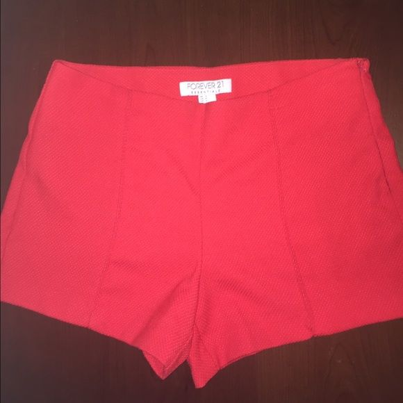Forever 21 red shorts Red high waisted shorts in great condition only worn once size medium Shorts