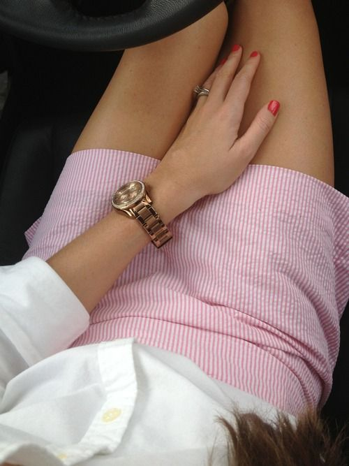 Pink skirt and a white oxford.