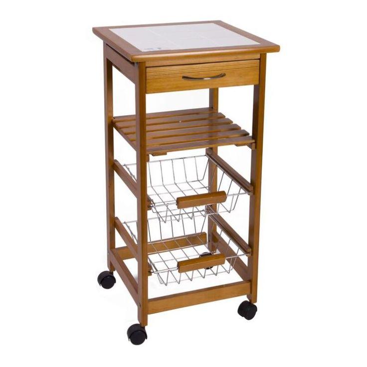 Mueble auxiliar de cocina con ruedas diferentes for Mesa carro bar madera