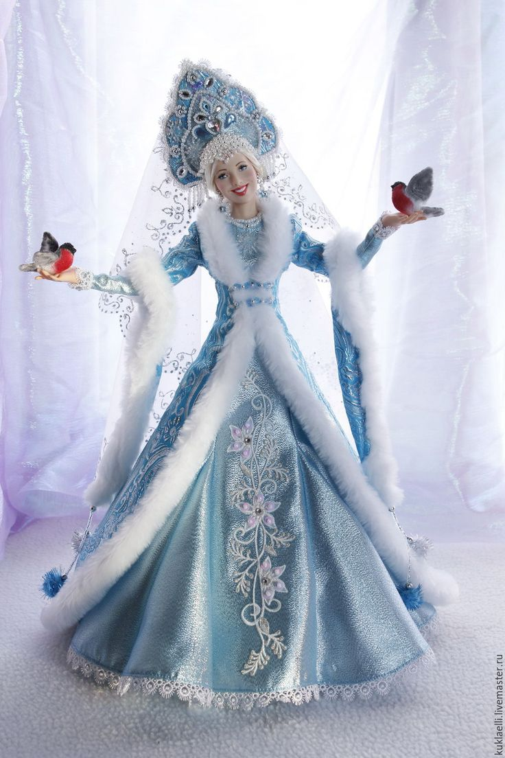 Купить Кукла Снегурочка с снегирями - кукла снегурочка, снегири, Новый Год, кукла на Новый год