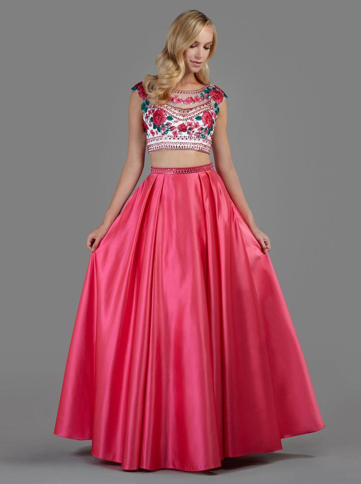 Φούστα μακριά βραδινή με κέντημα στη μέση και κεντημένο τοπ με φλοράλ λεπτομέρειες - Βραδυνά Φορέματα