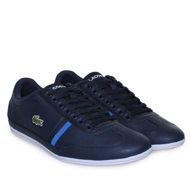 LACOSTE Blue Leather Low-cut Sneakers. Ανδρικά δερμάτινα μπλε παπούτσια.