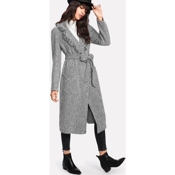 Fringe Trim Self Belted Tweed Coat (51 BAM) ❤ liked on Polyvore featuring outerwear, coats, grey, grey tweed coat, shawl collar coat, fringe coat, tweed coat and long gray coat
