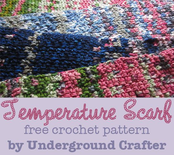 This is a neat idea. Crochet a row a day - color is determined by the temp outside.  Temperature Scarf, free (conceptual) crochet pattern by Underground Crafter