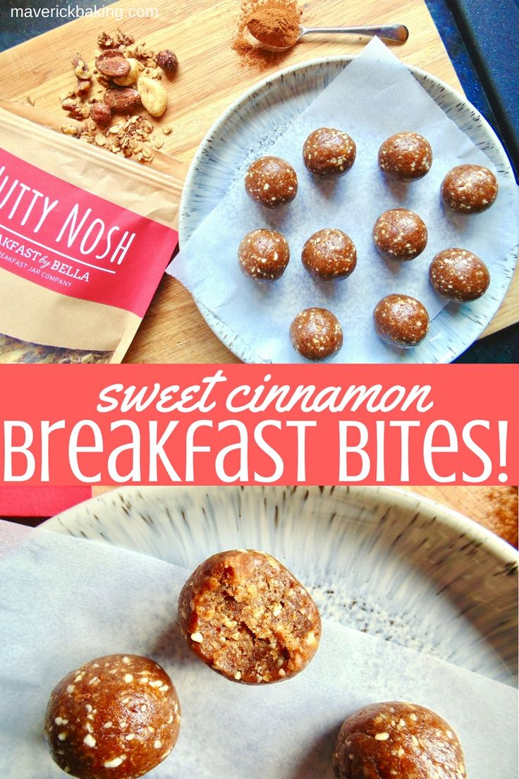 Sweet Cinnamon Breakfast Bites; quick, easy, delicious and healthy little bites made with sweet dates, granola, nuts and cinnamon! (VEGAN)
