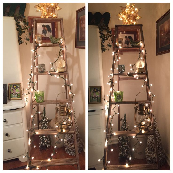 Old Wooden Ladder Used For Christmas Decor.