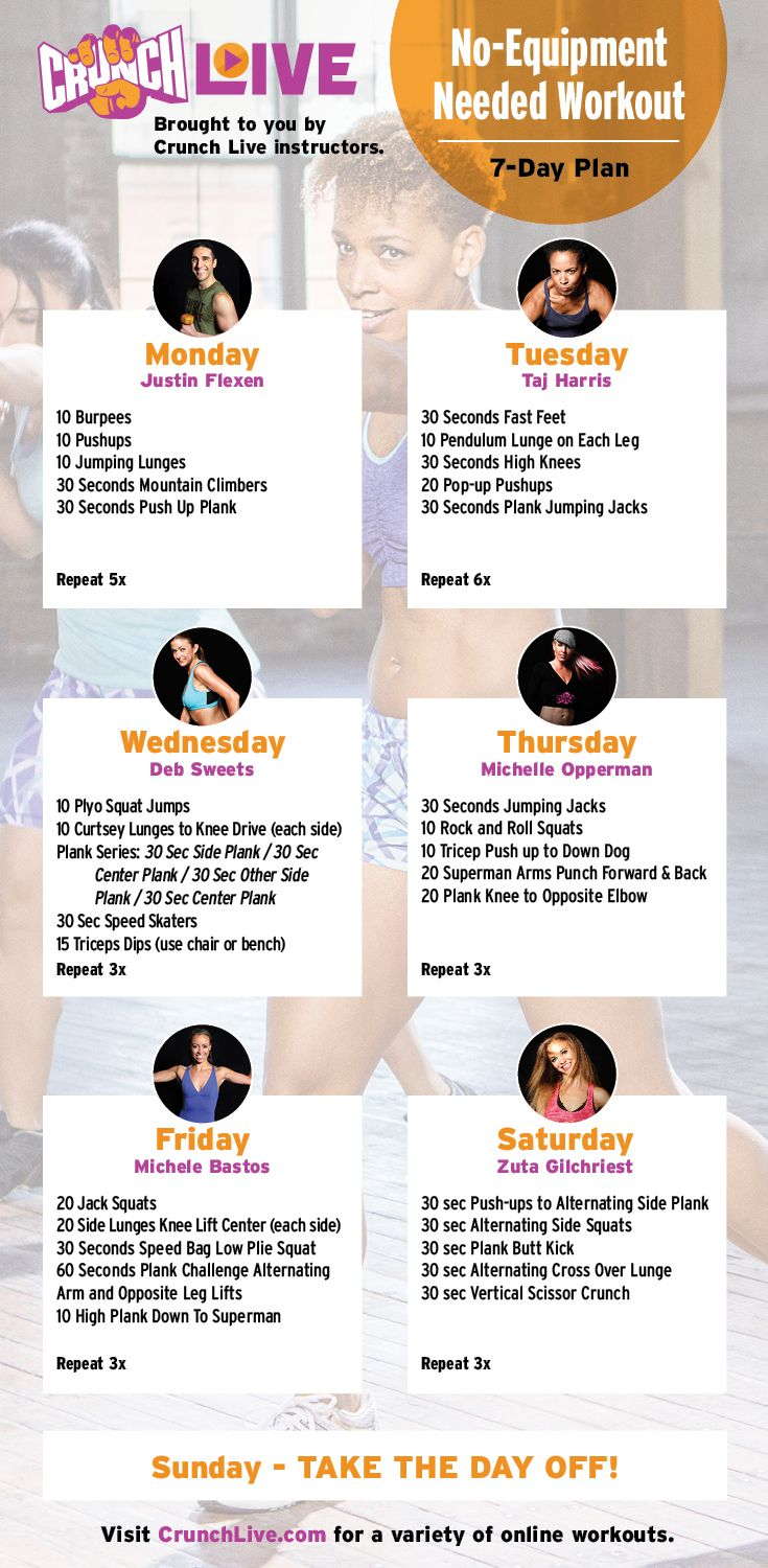 Printable, 7-Day No Equipment Needed Full Body Workout - work out anywhere with this 7-day #CrunchLive workout plan. The only equipment you need is your body so there's no excuse not to fit in your workout for the day. Looking for more no equipment workouts, visit www.CrunchLive.com for a variety of online workout videos (FREE trial available).