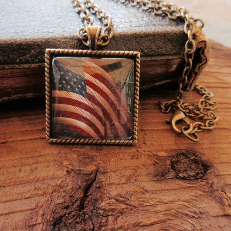 jewelry necklace American flag 4th July Independence Day patriotic military star stripes history teacher gift vintage red white blue unisex by veronicarosedesigns on Etsy