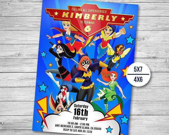 DC superhéroes chicas invitación cumpleaños de las niñas de