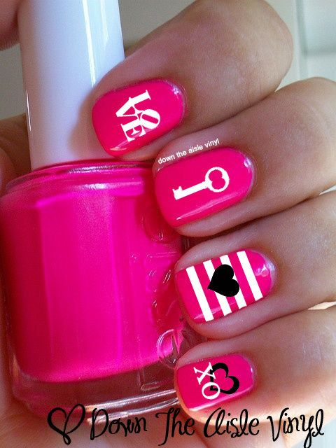 #Manicure #Monday with #Capri #Jewelers #Arizona ~ www.caprijewelersaz.com ♥ Valentines Day Nail Decals - Comes in a set of 60 in ONE color Set includes: filled in hearts, hollow hearts, keys, love, & xoxo letters