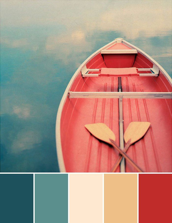 paleta inspirada em um barco e o mar - azuis, neutros e vermelho