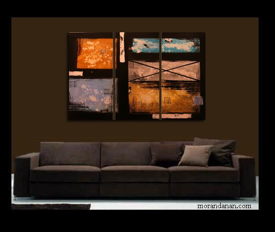 "Entire painting measures: 45x30"" Each piece measures: 15x30""   - This painting is original and signed by the artist Moran Danan   - This painting is quality professionally stretched on wood, and ready to hang on any wall.  - This painting is stretched using staple free sides. - The sides of the painting painted, so there is no blank canvas viewable when hung on your wall. - When the painting is complete a Clear Varnish is applied to protect the painting for life."