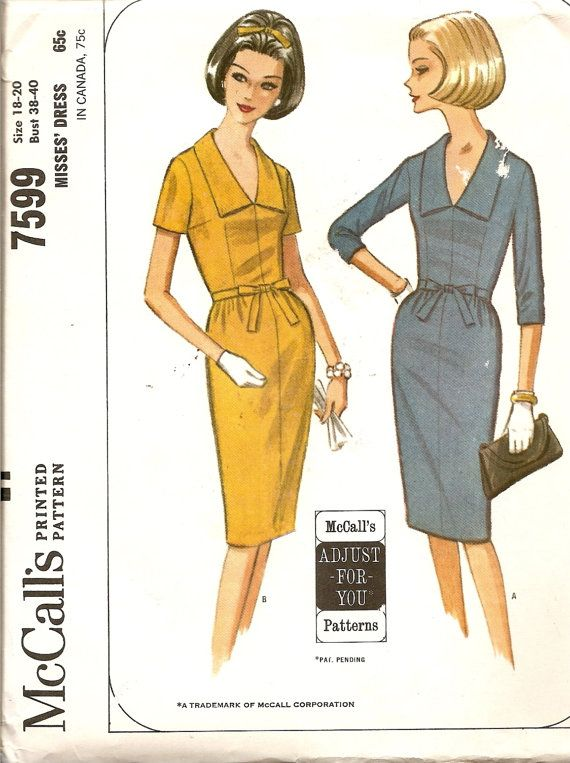 Vintage Sewing Pattern 1960's Wiggle Dress McCalls by TenderLane