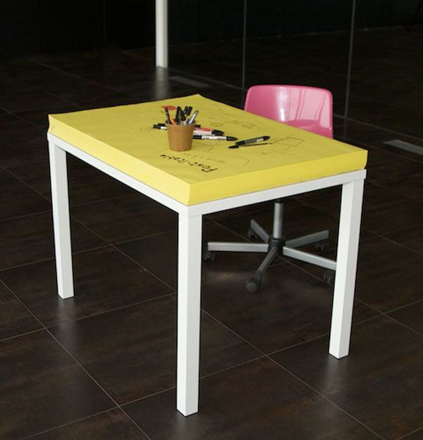 Creative people tend to have too many ideas and a need to get them down on paper as soon as possible, no matter where they are. This post-it desk is just perfect for people like this, just throw ou…