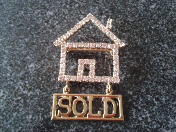 Vintage Realtor House sold sign charm Brooch Pin by themagickcat