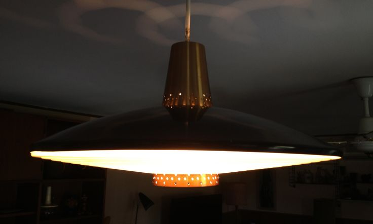 Flying saucers exist! Mid century BECO atomic pendant light