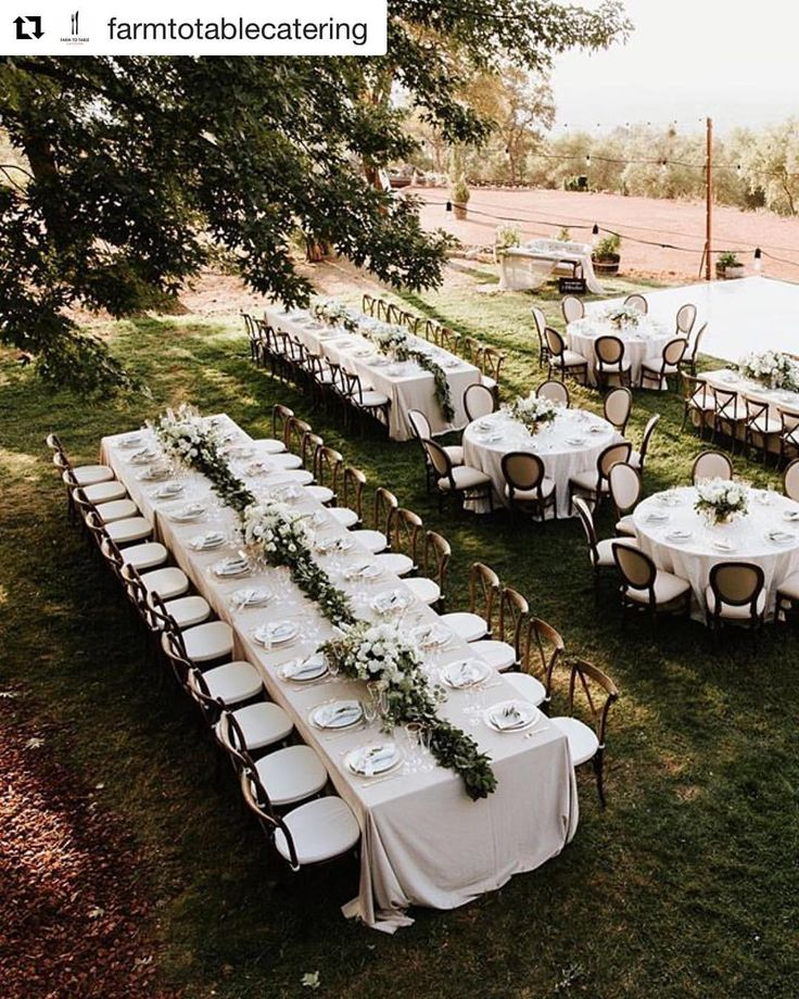 Love this mix of round and banquet tables with Cross Back and Felicity Chairs | Celebrations! Party Rentals and Tents | Farm To Table Catering