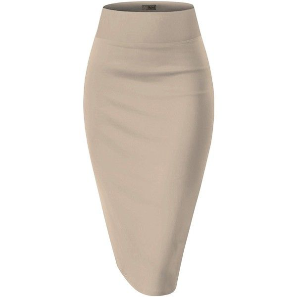 Womens Pencil Skirt for Office Wear KSK43584 10526 BLACK/WHIT XS at... ($15) ❤ liked on Polyvore featuring skirts, knee length pencil skirt and pencil skirt