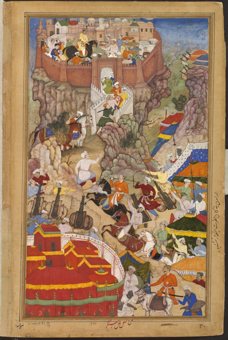 1569-Akbar's entry into the fort of Ranthambhor after the submission of the Rajput, Rai Surjan Hada. Date1590-95