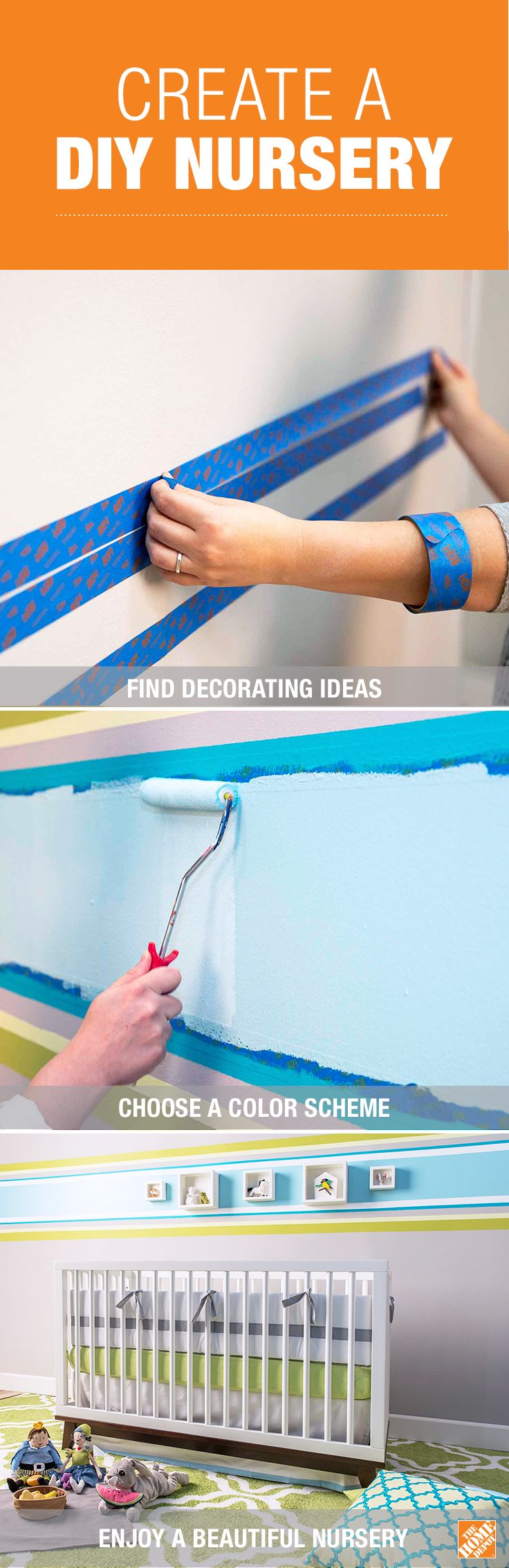 Learn how to create a beautiful nursery with recommended color schemes and designs by BEHR paint. Get the simple step-by-step guide as well as decorating tips that will help add the perfect touch to your baby's nursery.