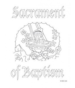 baptism sacrament catholic coloring page
