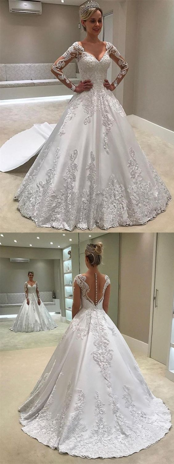 Ball Gown V-Neck Long Sleeve Watteau Train Wedding Dress with Appliques