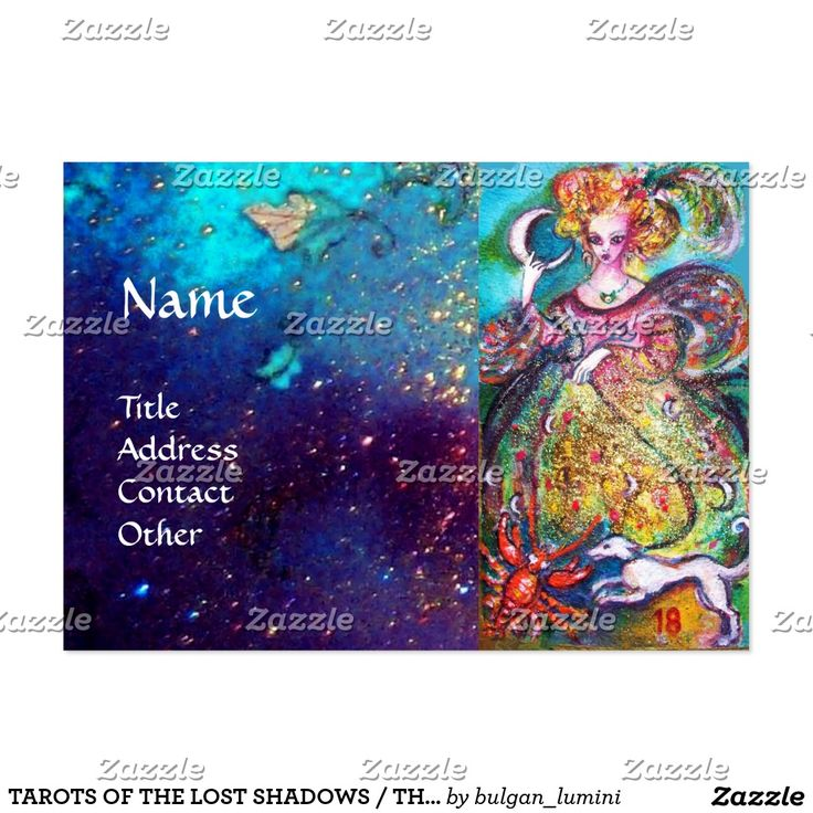 TAROTS OF THE LOST SHADOWS / THE MOON LADY LARGE Double Sided  BUSINESS CARD by Bulgan Lumini (c)