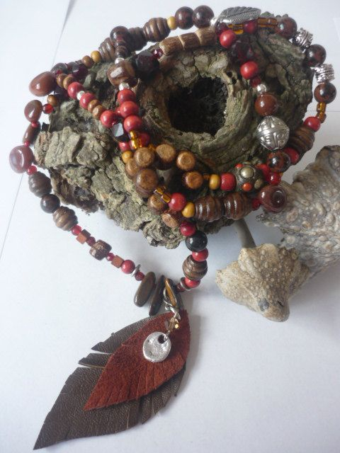 Long bohemian Autumn Spirit red leaf necklace by AvalondesignsNL, $37.14