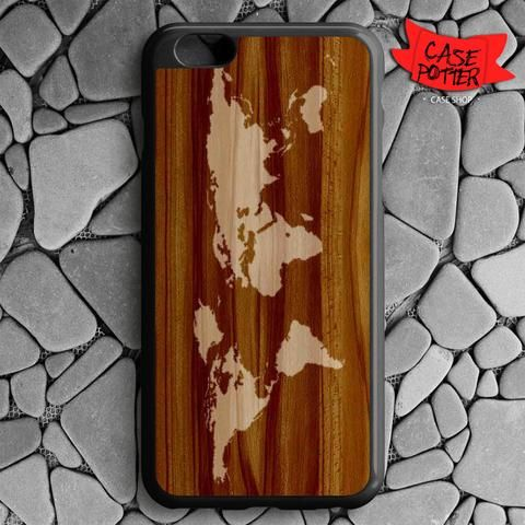 World Map Siluet In Wood iPhone 6 Plus iPhone 6S Plus Black Case