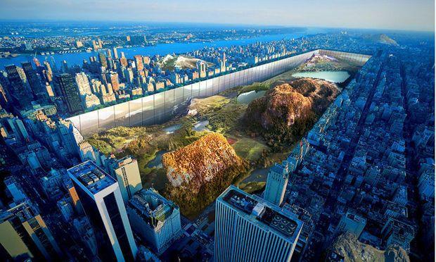 """"""" Abaisser """" Central Park de 100 mètres sous Manhattan, lui créer des collines et l'entourer de bâtiments réfléchissants le paysage ; c'est le projet un peu fou imaginé par deux architectes américains pour rafraichir le célèbre parc au coeur de Big Apple. Démesuré autant que séduisant."""