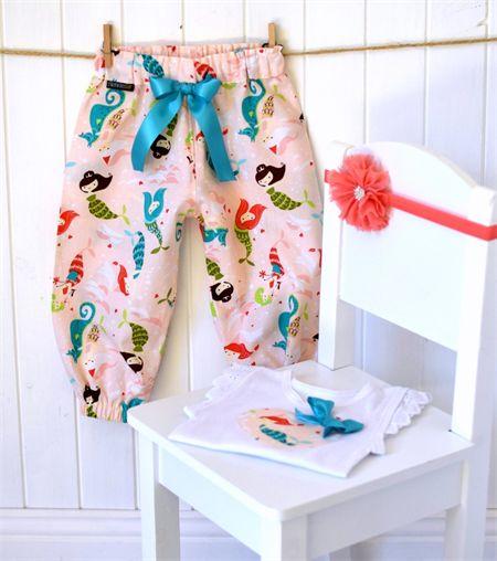 """Mermaids"" Harem Pants + embellished singlet sizes 0000-2 Peach Teal whimsical"