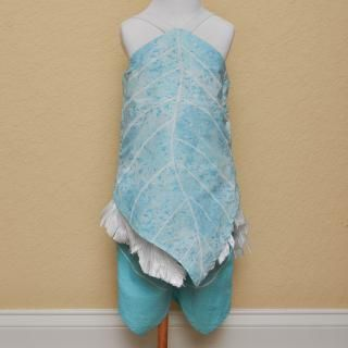 Periwinkle costume I made with handmade washable fabric feathers.