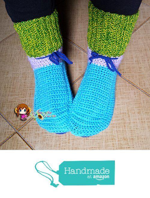 Scarpe da notte uncinetto, calze da notte, crochet, christmas, natale, lana, acrilico, socks, azzurro , blue, verde, multicolor, mix color, adulto, unisex, calde. da Annarella Gioielli https://www.amazon.it/dp/B01LWNGMGV/ref=hnd_sw_r_pi_dp_UDO5xbW6QVS3M #handmadeatamazon