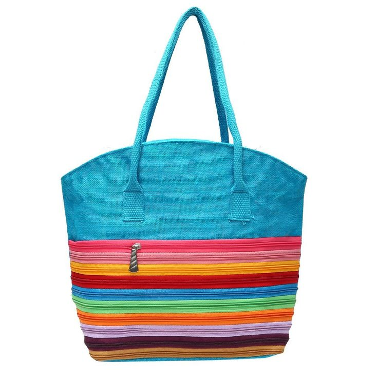 Estilo Store Blue #Jute #HandBag With Front Pocket