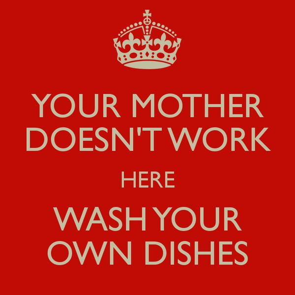 Your Mother Doesn T Work Here Wash Your Own Dishes Poster Bcb Dishes Jokes Quotes Funny Signs