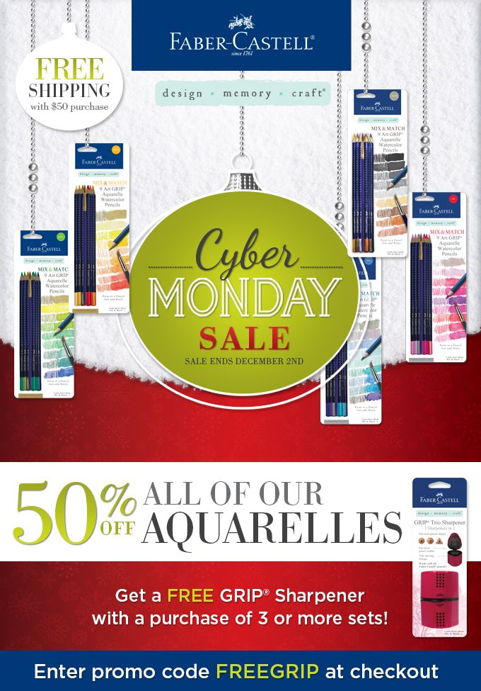 Before we start off with today's post, we'd like to interrupt with a short commercial for our Cyber Monday special. If you're lookout for gifts or just looking to stock up, this is your chance! To buy all of our aquarelles for 50% off, enter the promo code FREEGRIP at...